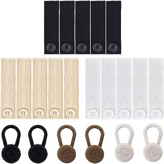 SourceTon - Estensori elastici in vita e 6 bottoni per pantaloni, due tipi, forti e regolabili, per pantaloni, colore: ner...
