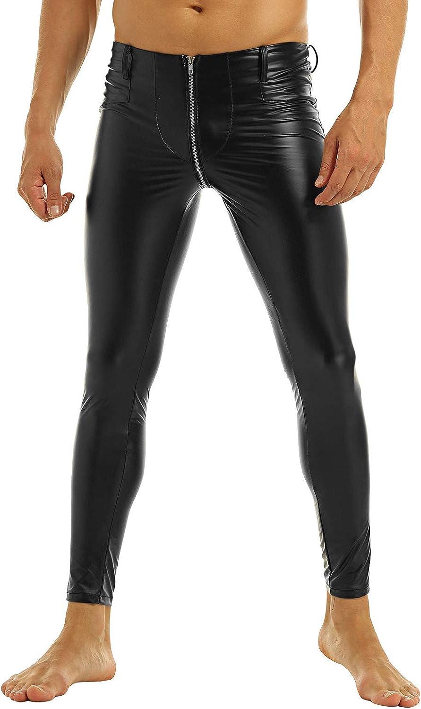 Hedmy Men's Faux Leather Wetlook Tight Motor Biker Pants Leggings PVC Zipper Crotch Long Trousers