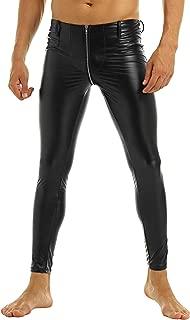 CHICTRY Men 's Faux Leather Tight Pants Zipper Crotch Leggings Long Trousers Clubwear