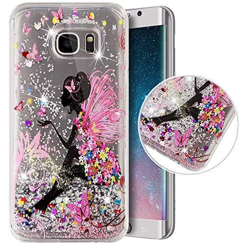 Coque Compatible avec Samsung Galaxy S7 Edge,Transparente Coque Paillettes Mobiles Glitter Liquide Motif Peint TPU Souple Silicone Housse Etui de Protection Complete Antichoc Brillant Gel,Fille