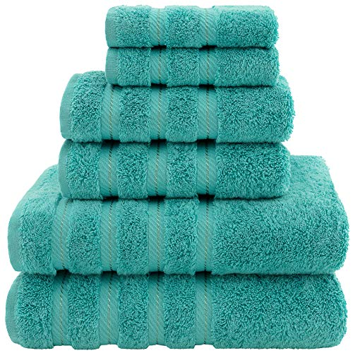 American Soft Linen Premium, Luxury Hotel & Spa Quality, 6 Piece Kitchen & Bathroom Turkish Genuine Cotton Towel Set, for Maximum Softness & Absorbency, [Worth $72.95] Turquoise Blue