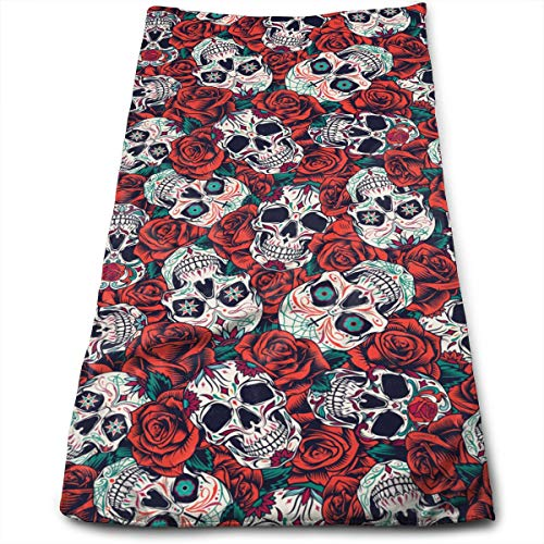 Sugar Skulls and Red Roses Hand Towels for Bathroom,Swimming,Yoga,Gym Soft Absorbent Microfiber Unisex 27.56 X 11.81 in Vintage Day of Dead Seamless Pattern Small Bath Towels