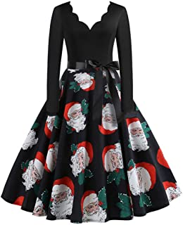 Christmas Dress Womens Vintage A-Line Gown with Belt