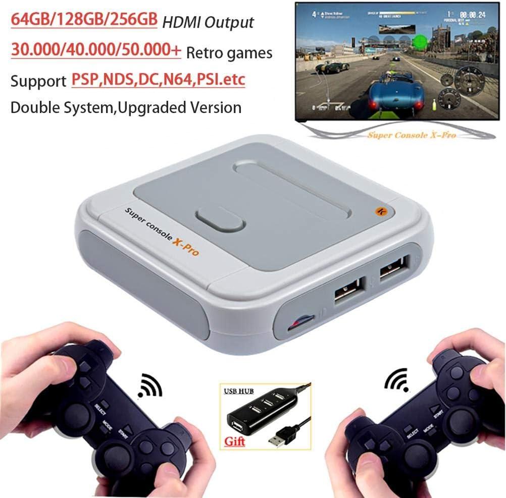 Juegos con Chip S905X Actualizado,Consola Inal/ámbrica Port/átil Funmix Super Consola X Pro Mini TV Reproductor de Videojuegos WiFi 4K HDMI TV Integrados 30000