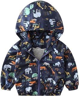 kaiCran Kids Baby Boys Girls Dinosaur Autumn Windbreaker Long Sleeve Zipper Hooded Jackets Coat Clothes 1-6 Years