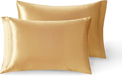 Silky Queen Size Pillow Cases Set of 2 | Satin Pillowcase for Hair and Skin | Gold, 20 x 30 Inch – Reduce Skin Irritation & Frizzy Hair | Retains Color in Easy Machine Wash & Dry
