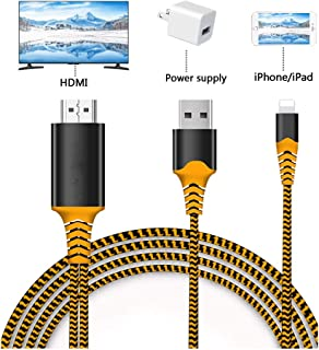 Compatible with iPad iPhone to HDMI Adapter Cable, Braole Connector, Digital AV Adapter Cord Support 1080P HDTV Converter Compatible with iPhone Xs MAX XR X 8 7 6Plus iPad to TV Projector Mo (Orange)