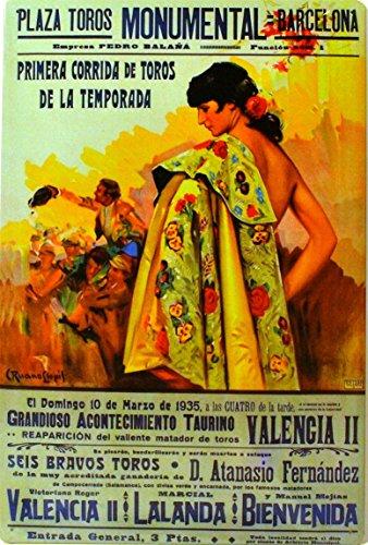 ART ESCUDELLERS Cartel Póster publicitario de Chapa metálica con diseño Retro Vintage de Catalunya/España. Tin Sign. 50 cm x 33,50 cm (Plaza DE TOROS Monumental Barcelona Capote)