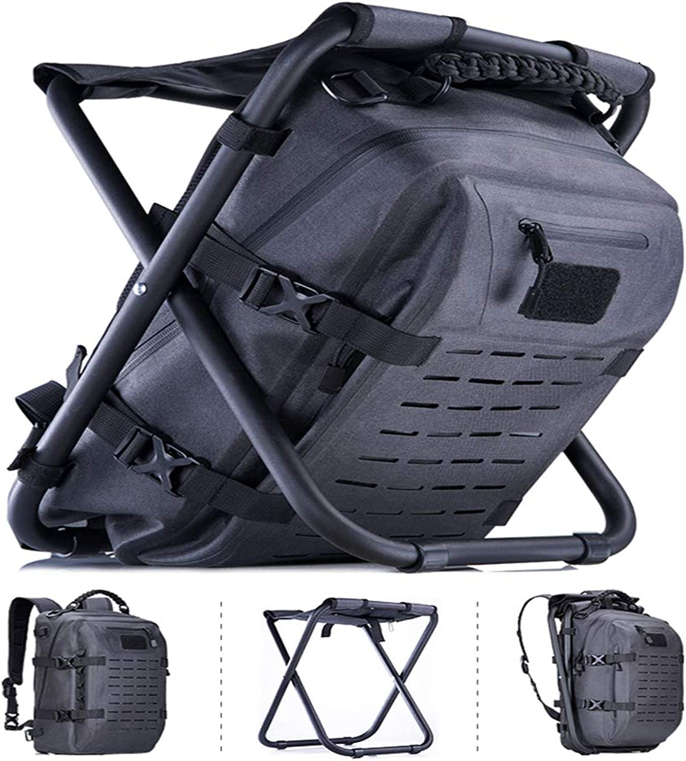 Folding Backpack Chair Black Leather Outdoor Backpack Folding Cooler and Stool Backpack Hiking Backpack