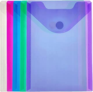 YoeeJob 5 Packs A5 Assorted Poly Envelope Pocket with Hook & Loop Closure, Top Opening