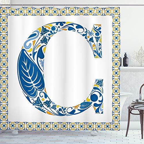 ABAKUHAUS Buchstabe C Duschvorhang, Portugiesische Kultur Kunst, mit 12 Ringe Set Wasserdicht Stielvoll Modern Farbfest & Schimmel Resistent, 175x180 cm, Orange Gelb Blau