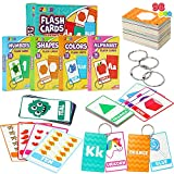 JOYIN 4 Value Pack Toddler Flash Cards with Rings Set, Includes Numbers,...