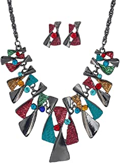 AEVIO Geometry Collar Necklace with Earring Bib Statment Chunky Choker Colorful Personalized Twisted Metal and Rhinestones Pendant Fashion Jewelry for Women