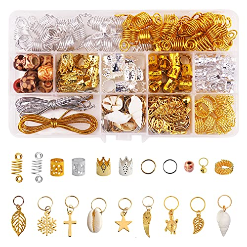 240PCS Loc Hair Jewelry for Women Braids dreadlock accessories Dreadlock Braids kits for box Braids shell Pendants wood Beads adornment hair Clips adjustable Metal Cuffs Silver & Gold