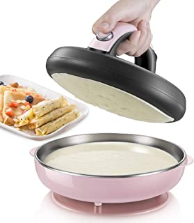JIASHU Crepe Maker, Automatic Non-Stick Crepe Maker Mini Pancake Machine, with On/Off Switch, Automatic Temperature Control and Cool-Touch Handle, Spatula Included