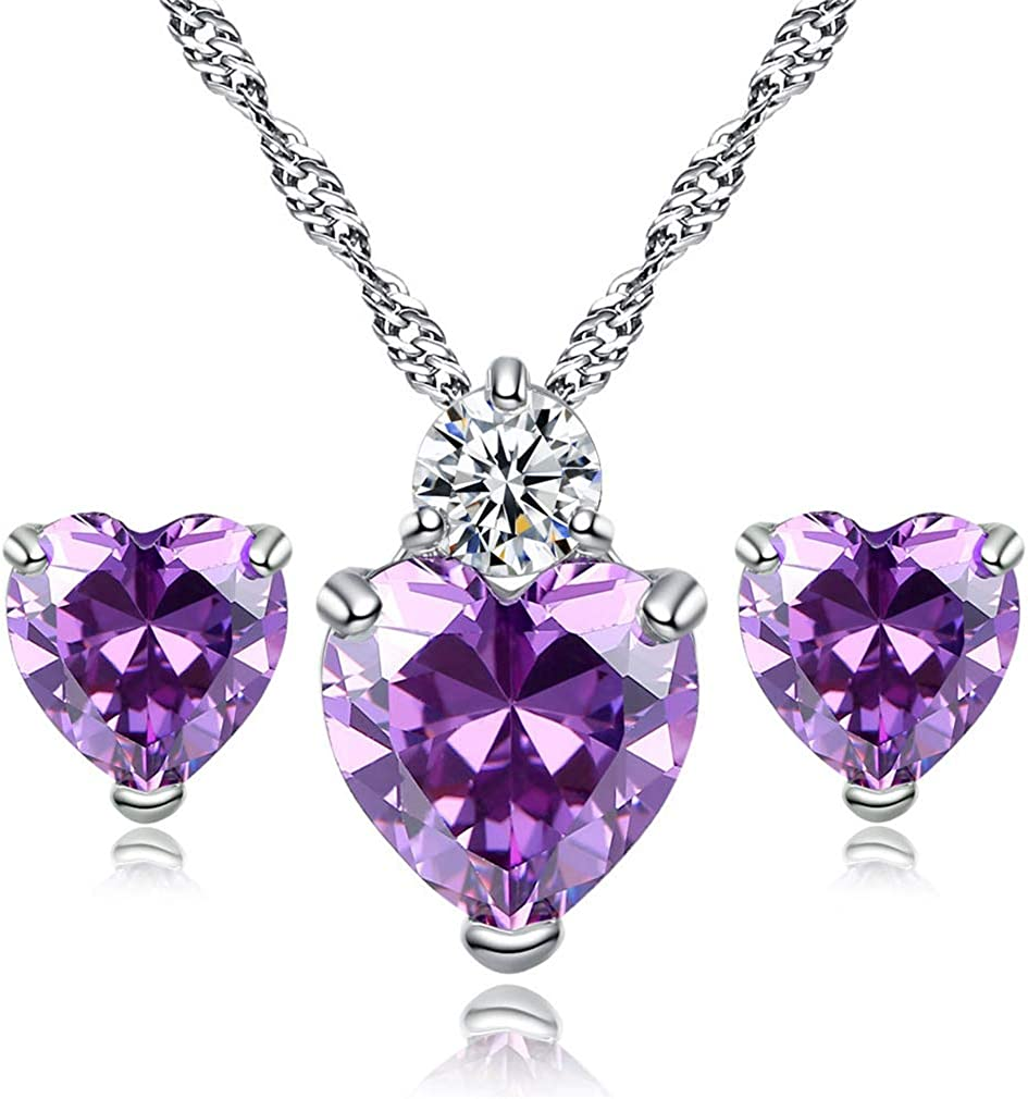 YAZILIND Women Love Heart Pendant Necklace Earrings Set, Jewelry Set Gift Her