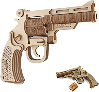 GreenLF 3D Wooden Puzzle, DIY Jigsaw Brain Teaser Toys of Revolver Gun Model, Good Gift for Kids,Teens and Adults
