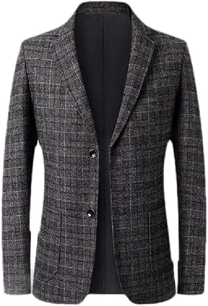Men's Casual Regular Fit Business Plaid Check Dress Blazer Jacket Sport Coat