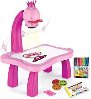 Child Learning Desk With Smart Projector Kids Painting Table Toy With Light Music Children Educational Tool Drawing Table(pink)