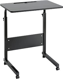 DOEWORKS Bedside Computer Table, Adjustable Laptop Stand Portable Cart Tray Side Table, Black