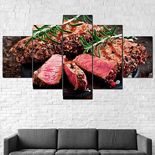 QQWW Cuadro en Lienzo Cocina de Comida de la Carne de bistec 200x100cm - XXL Impresión Material Tejido no Tejido Artística Imagen Gráfica Decoracion de Pared - 5 Piezas - Listo para Colgar
