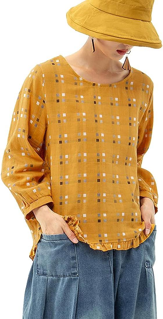 Plusl Women Casual Plaid Blouses - Long Sleeve Crew Neck Tops Loose Cotton Linen Shirts Sweatshirts Ruffle Trim Pullover