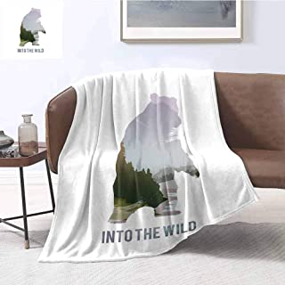 Cabin Decor Children's Blanket Wild Animals of Canada Survival in The Wild Theme Hunting Camping Trip Outdoors Lightweight Soft Warm and Comfortable W91 x L60 Inch Multicolor
