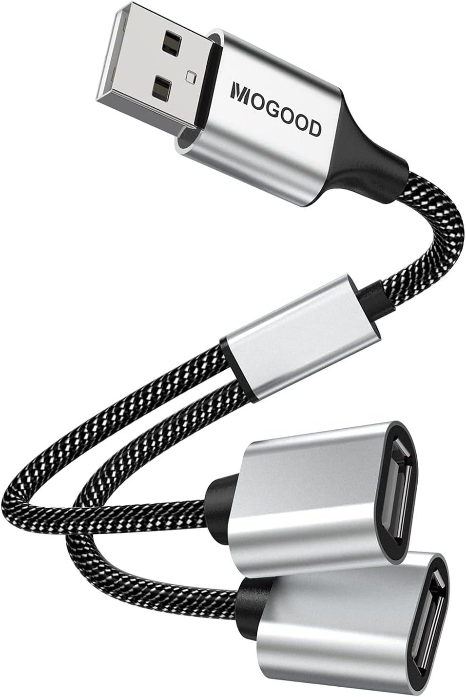 USB Splitter Cable MOGOOD USB y Splitter Adapter Dual USB 2.0 Power Cord Extension for Charging/Data Transfer/Laptop/Mac/Car