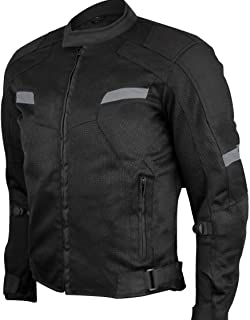 Mens Motorcycle Perforated Light Weight Reflective Textile Mesh CE armor Rated Jacket (XL)