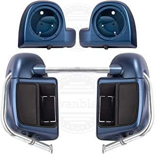 Legend Blue Denim Rushmore Lower Vented Fairings Kit Leg Warmers with 6.5 inch Speaker Pods Fit for Harley Touring Street Glide Special 2018
