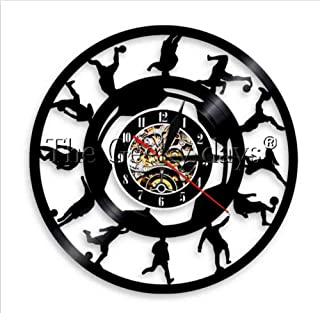 ZCGHGXGJ 1Piece Football Players Silhouette Wall Clock Soccer Kicking Ball Vinyl Record Vintage LP Clock Sports Room Wall Decor