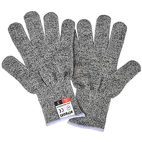 Idealeben 1 Paar Schnittsichere Handschuhe für Kinder – HPPE Level 5 Schutz, EN-388 Zertifiziert, Lebensmittelecht. Kinder Handschuhe für Gartenbau, Messer zu schärfen,Holz zu schnitzen (4-6 Jährige)