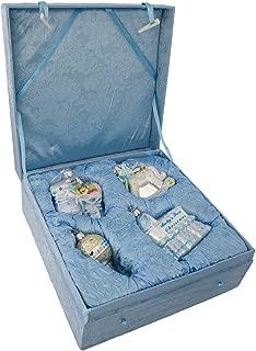 Kurt Adler NB0017B Noble Gems Glass Baby Boy Ornament, 4 Piece Set