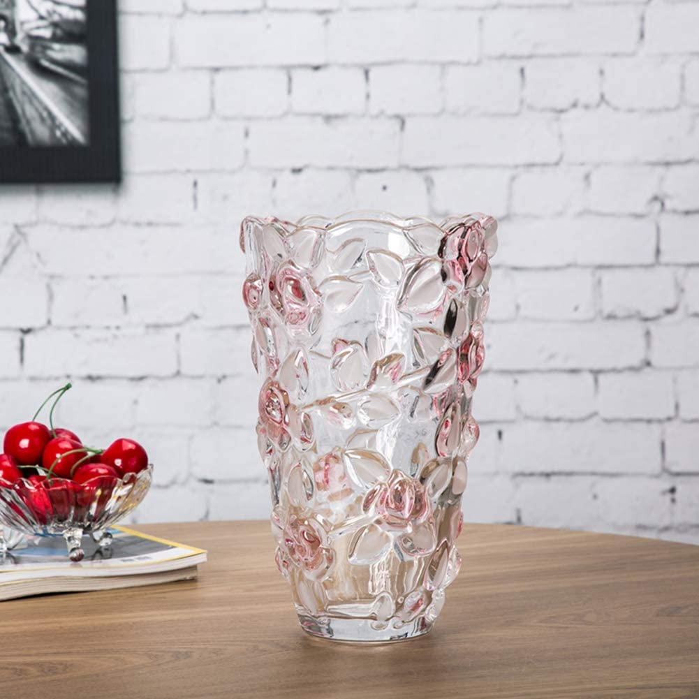 Vase Cut Glass Rose Flower For Dinner Table Or Living Room Colorful Crystal Flower Transparent European For Water Planting Or Mantelpiece A H24cmxd14cm Furniture Decor