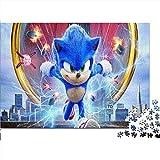 OKJK 300 Piezas de Rompecabezas para Adultos Sonic Hedgehog Puzzle de Madera Serie de Rompecabezas temáticos, Adecuado para familias, Juegos educativos, Rompecabezas 38x26cm