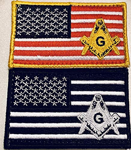 Masonic American Flag Tactical Patches with Press-Down and Pull up Technology Bundle Lot of 2 Pieces Embroidered Patch Appliqué Emblem