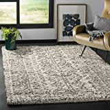SAFAVIEH Hudson Shag Collection SGH376A Moroccan Non-Shedding Living Room Bedroom Dining Room Entryway Plush 2-inch Thick Area Rug, 6' x 9', Ivory / Grey