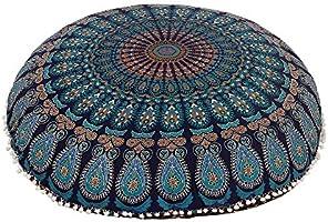 "Shubhlaxmifashion 32"" Blue Mandala Floor Pillow Cushion Seating Throw Cover Hippie Decorative Bohemian Ottoman Poufs,..."