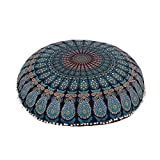 "Shubhlaxmifashion 32"" Blue Mandala Floor Pillow Cushion Seating Throw Cover Hippie Decorative Bohemian Ottoman Poufs, Pom Pom Pillow Cases,Boho Indian"