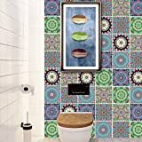 LSMYM Impermeable Azulejos árabes Pegatinas Baño Cocina Autoadhesivo Tatuajes de pared Gabinete Estufa Decoración de pared Murales a prueba de arañazos B 6pcs / set