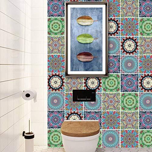 LSMYE Wasserdichte arabische Fliesen Aufkleber Badezimmer Küche selbstklebende Wandtattoos Schrank Herd Wanddekor Kratzfeste Wandtattoos B 6 Stück/Set