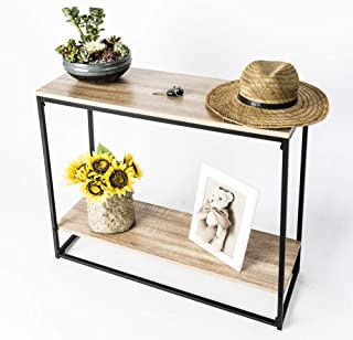 C-Hopetree Console Entryway Hallway Table Behind Coach Sofa Thin Entry Table witih Storage Shelf, Industrial Wood Look, Black Metal Frame, 2-Shelf