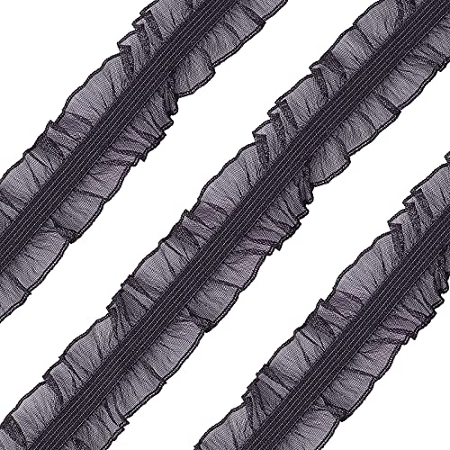 FINGERINSPIRE 11Yard/10m Black Fabric Lace Trim Stretch Elastic Double Ruffle Lace Ribbon 1 inches/28mm Wide for Sewing, Dress Decoration and Gift Wrapping