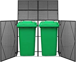 "Canditree Storage Shed Poly Rattan for Garbage Cans, Garden Tools, Bin Shed for Patio Backyard Garden 60.2""x30.7""x47.2"", Black"