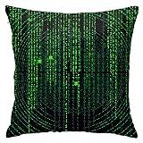 Funda de almohada CVDGSAD con código verde de 45,7 x 45,7 cm estándar, lavable a máquina