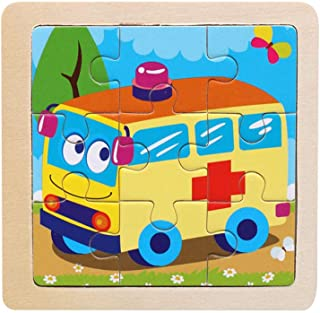 Wooden Jigsaw Puzzles Animals Puzzles Toys for Kids, Building Puzzles Police Car (Ambulance)