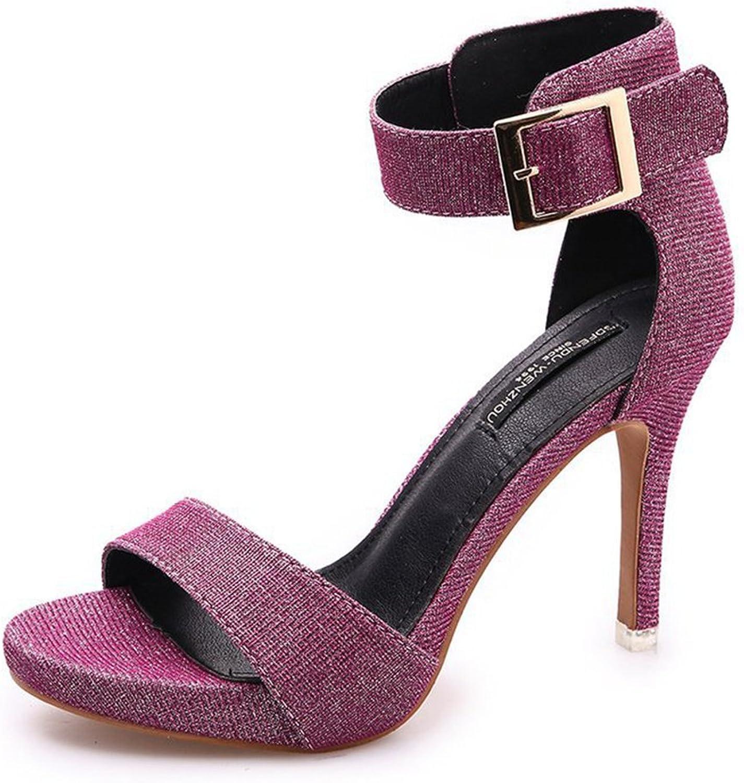 Btrada Women's Fashion Heeled Sandals Open Toe Platform Ankle Strap Summer High Heel Dress shoes