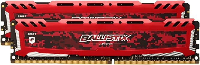 Crucial Ballistix Sport LT 3200 MHz DDR4 DRAM Desktop Gaming Memory Kit 16GB (8GBx2) CL16 BLS2K8G4D32AESEK (Red)