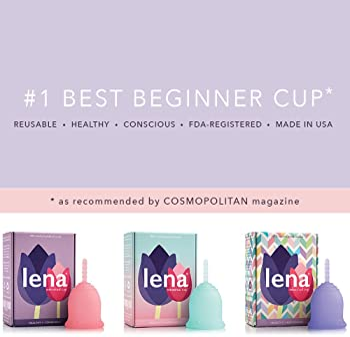 Lena Sensitive Menstrual Cup - Small - Clear - Regular Flow - Soft Beginner Cup - Made in USA - Sensitive Bladders & ...