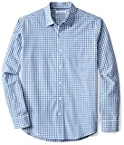 Amazon Essentials Men's Regular-Fit Long-Sleeve Casual Poplin Shirt, Blue Check, Large